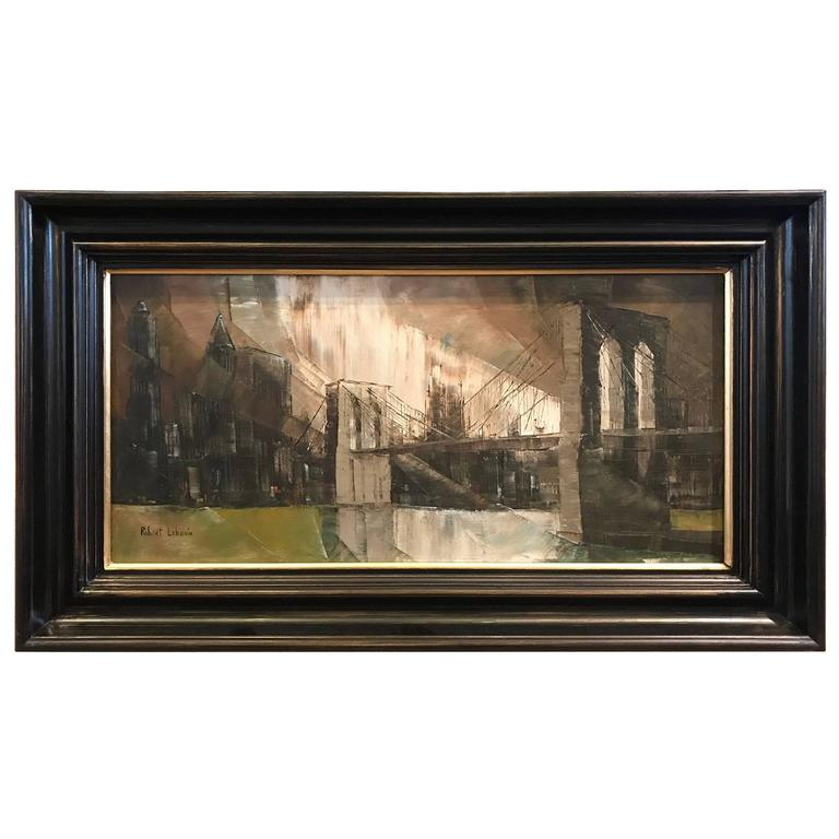 Oil on Canvas of the Brooklyn Bridge Signed Robert Lebron