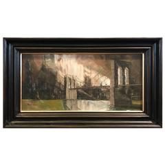 Oil on Canvas of the Brooklyn Bridge Signed Robert Lebron