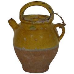 19th Century French Glazed Terracotta Jug or Water Cruche
