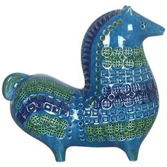 Original 1960s Ceramic Horse in Rimini Blue Design by Aldo Londi for Bitossi
