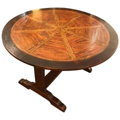 Handsome Mixed Wood Tilt-Top Round Dining Table