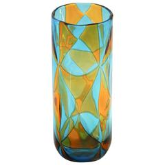 Ercole Barovier, Aquamarine and Amber Intarsi Vase, Signed, Limited Edition 1976