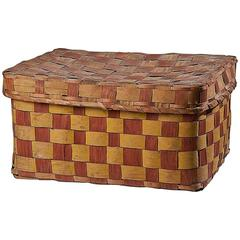 Native American Red and Yellow Lidded Splint Basket