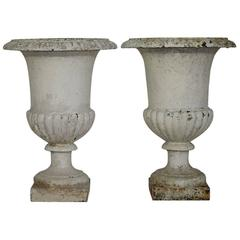 Pair of 19th Century French Cast Iron Medici Urns or Vases