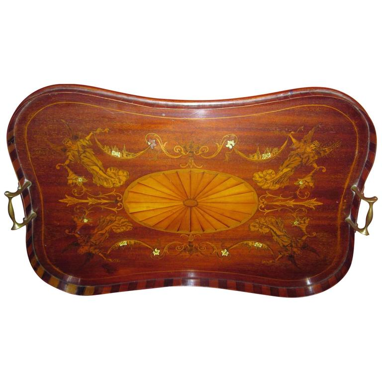 19th Century English Mahogany Tray with Fruitwood Inlay For Sale