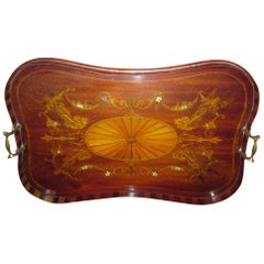 19th century English Mahogany Butler's Tray with Fruitwood Inlay