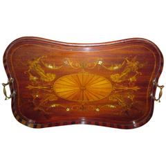 19th Century English Mahogany Tray with Fruitwood Inlay