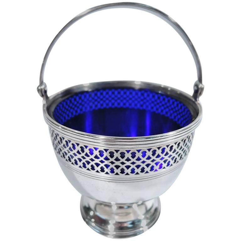 Tiffany Georgian Sterling Silver Sugar Basket With Cobalt