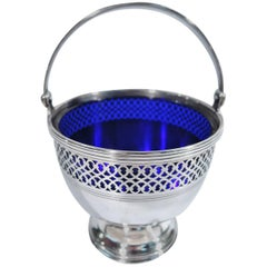 Tiffany Georgian Sterling Silver Sugar Basket with Cobalt Glass Liner
