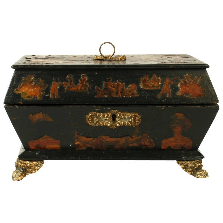 English Regency Decoupage Box, Early 19th Century