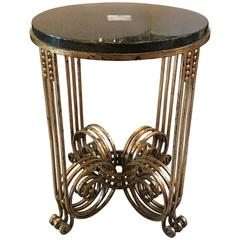 French Art Deco Wrought Iron Gueridon Table with Lacquer and Jade Top