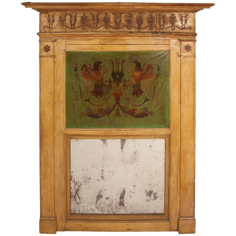 Large Painted and Carved Trumeau Mirror For Sale