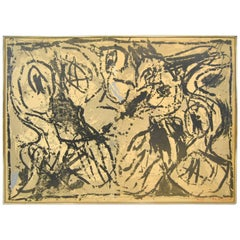 """""""Macro"""" Signed and Numbered 2/35 Litho by Pierre Alechinsky, 1967"""