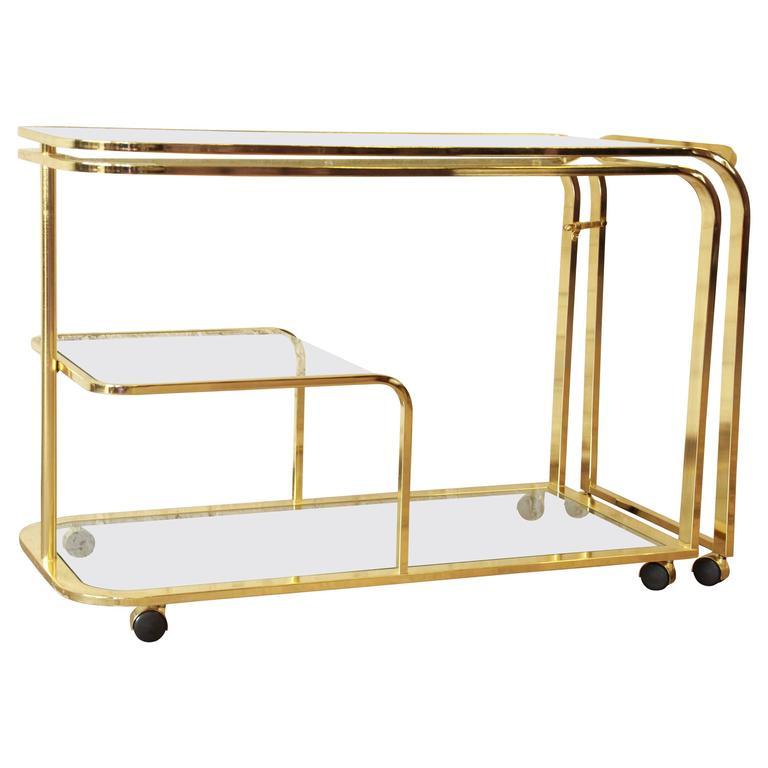 Expandable Hollywood Regency Brass Bar or Tea Cart by DIA