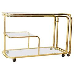Expandable Hollywood Regency Brass Bar or Tea Cart by Milo Baughman for DIA