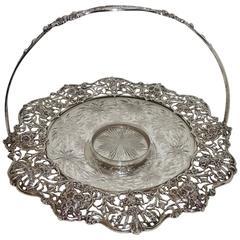 Beautiful Black Starr & Frost Pierced Handle Hawkes Crystal Platter Basket