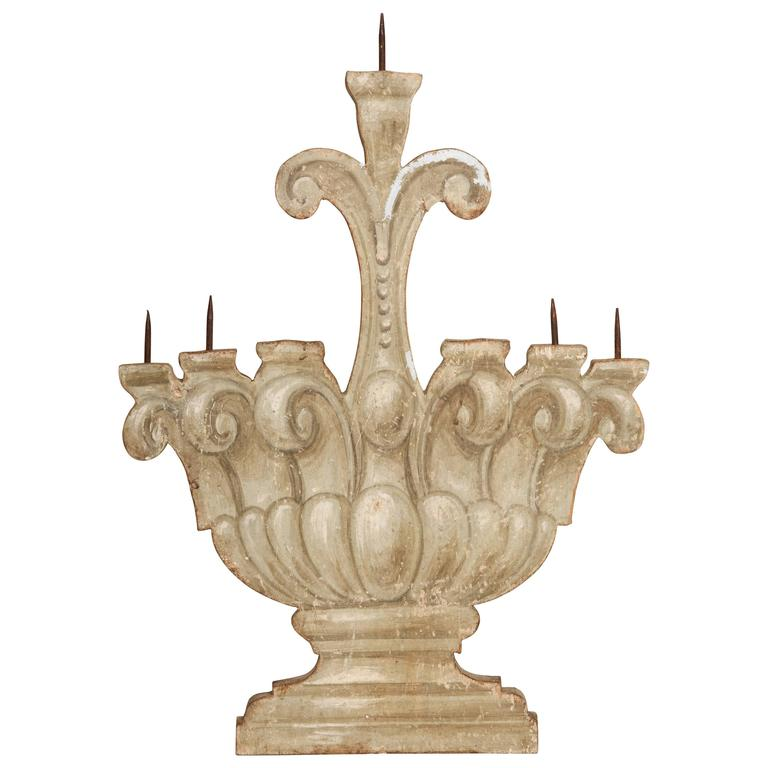 Antique Italian Painted Five Candelabra For Sale