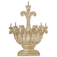 Antique Italian Painted Five Candelabra