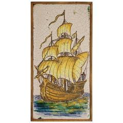 Early 1900s Framed Tile of Spanish Galleon