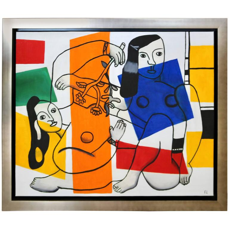 Homage to Fernand Leger Oil on Canvas, Cubist Style Painting