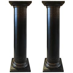 Pair of Black Neoclassic Pedestal Columns