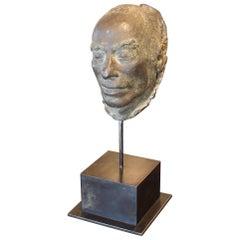 Cast Bronze Death Mask on Iron Mount