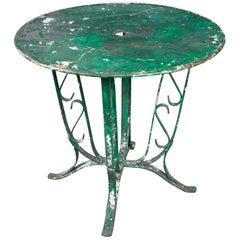 French 1920's  Garden Table  with Distressed Green Paint