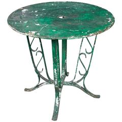 French, 1920s Green Garden Table