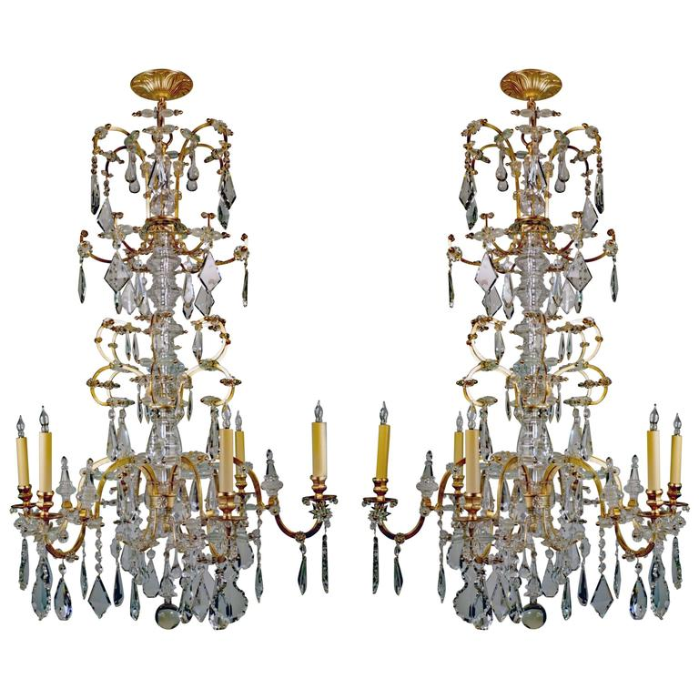 Rare Pair Of Large French 19th Century Chandeliers For