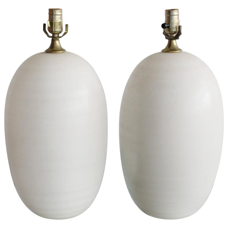 Pair of Egg Shape Ceramic Table Lamps