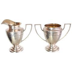 Woodside Sterling Sugar and Creamer Art Deco