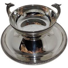 Fine Christofle Malmaison Pedestal Silver Plate Regency Empire Swan Centrepiece