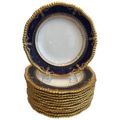 Set of 12 English Antique Hand Gilt Accent Plates Edwardian Era