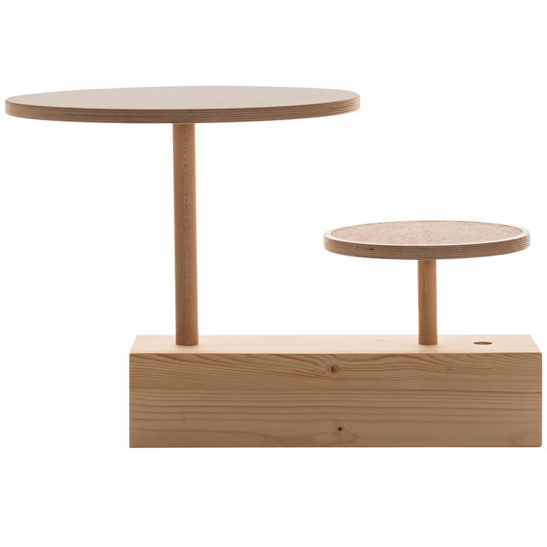 Claus Zu Tisch, Table with Stool, in Spruce, Designed by Sirch and Bitzer