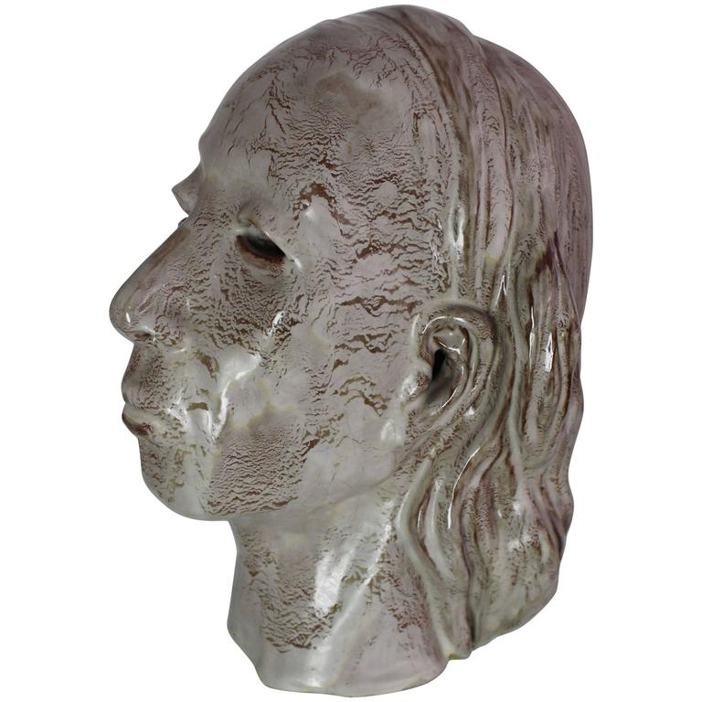 Pottery Glazed Ceramic Indian Head Sculpture Mask