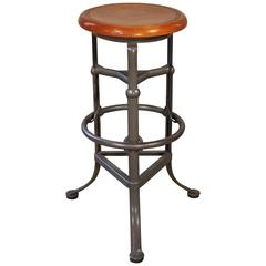 Backless Bar Stool Wood and Metal Adjustable Vintage Industrial Bar Shop