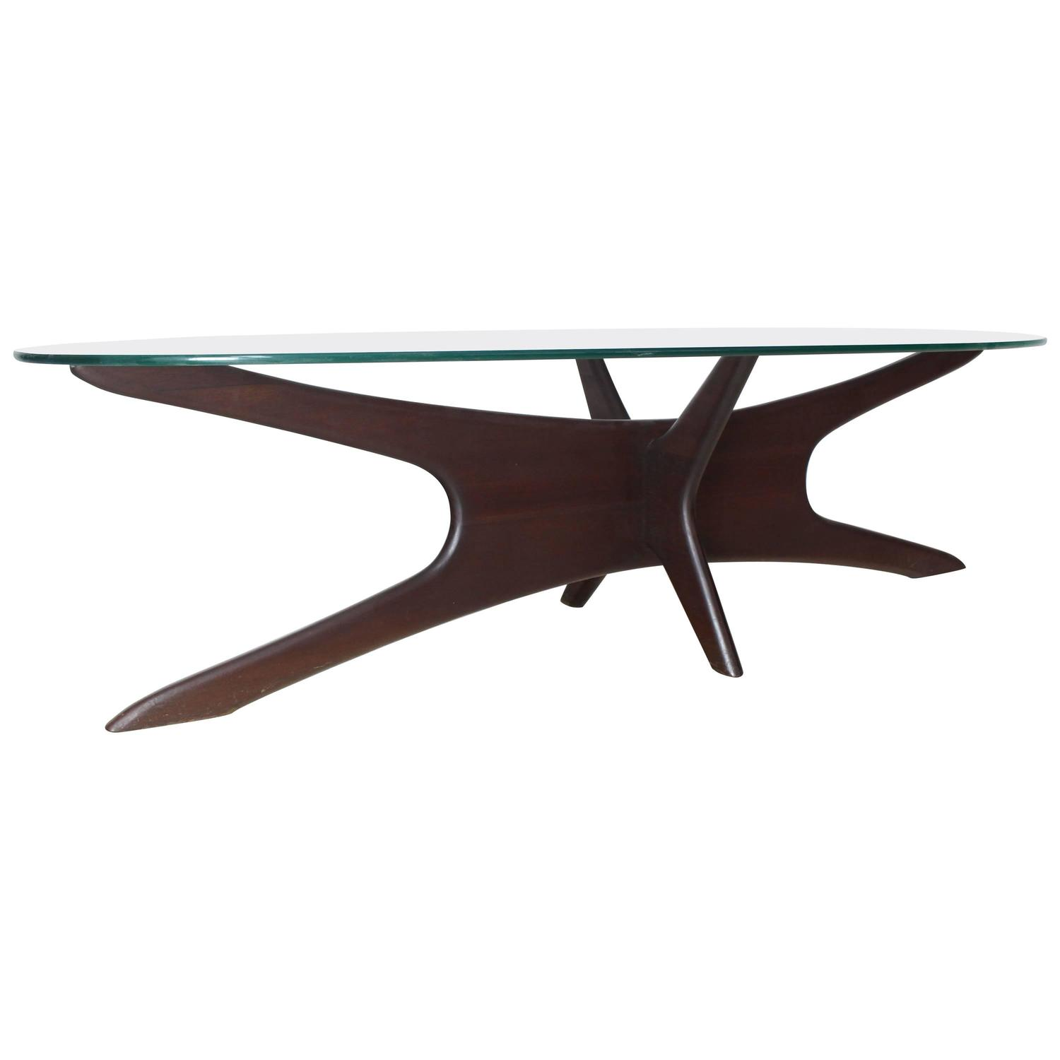 Mid Century Modern Glass Coffee Table with Planter Base at 1stdibs