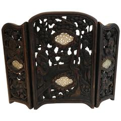 Carved Table Screen with Carved Stone Insets
