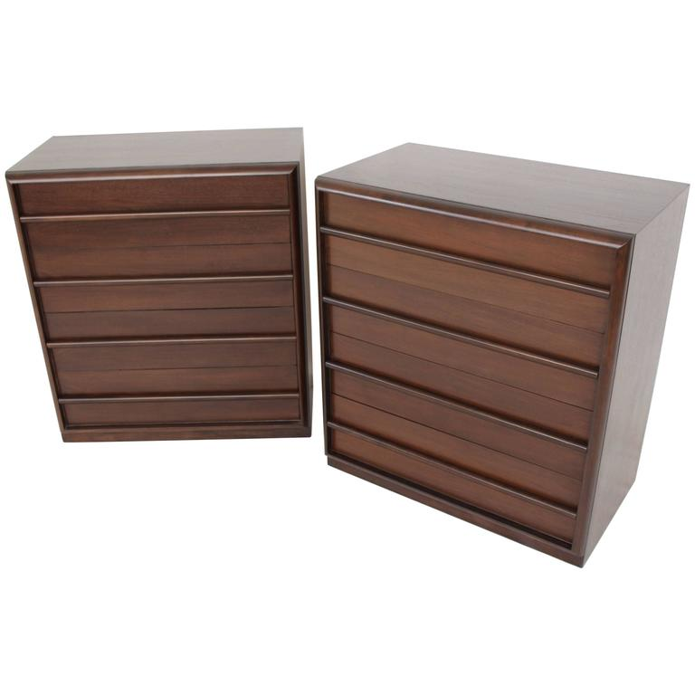 Pair of Robsjohn-Gibbings Bachelor Four Drawer Chests Dressers