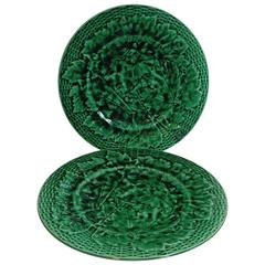 Pair of 19th Century Green Majolica Leaves Plates