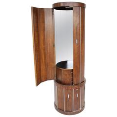 Cylinder Shape Liquor Bar Cabinet Walnut