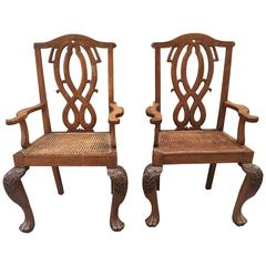 Anglo Indian 19th Century Teak Caned Armchairs