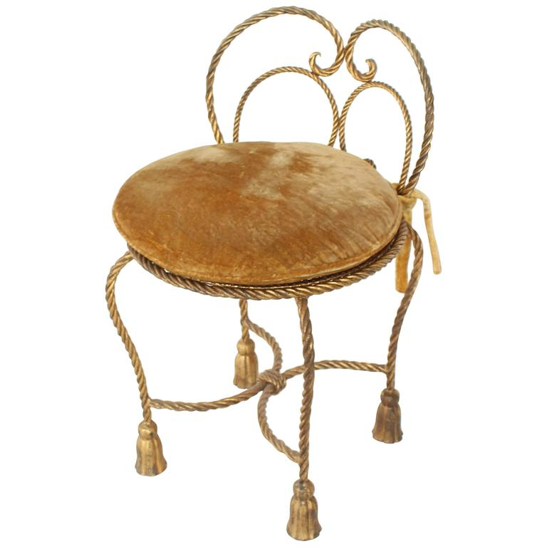 Gold Gilt Iron Rope Tassel Upholstery Vanity Chair Hollywood Regency