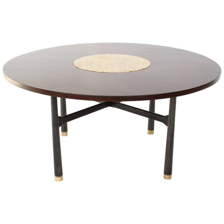 Harvey Probber Round Walnut Game Center Table with Travertine Insert