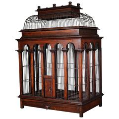Large Victorian Wooden Birdcage with Wire Dome Top, circa 1800s