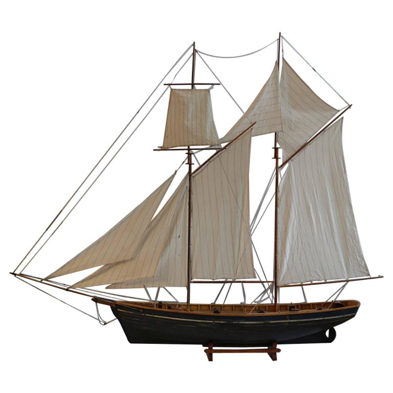 Early 20th Century Monumental Wooden Ship Model, circa 1940s For Sale