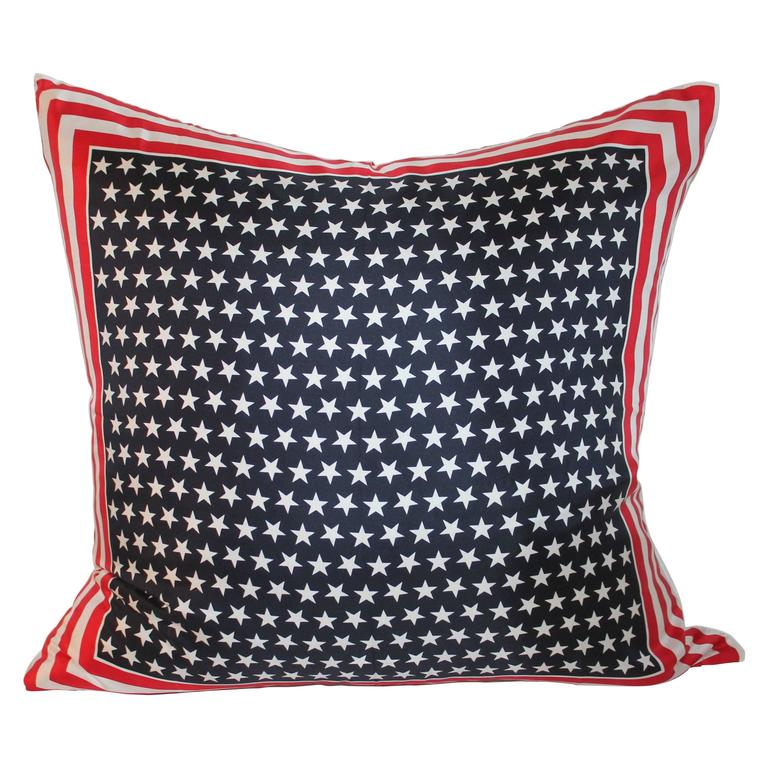 Monumental Patriotic Silk Escada Scarf Pillow