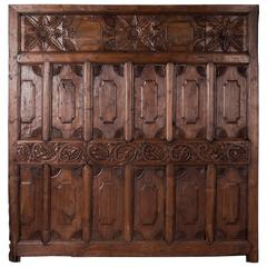 Antique Early 20th Century Carved Teak Bed Panel from Java, King Size Headboard
