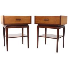 Pair of Two-Tone One Drawer Nightstands on Tall Tapered Legs