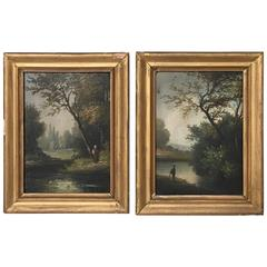 19th Century Petite French Landscape Paintings